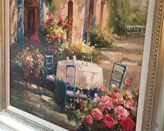 OIL ON CANVAS OF A GARDEN SCENE