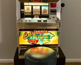 """Bally Slot Machine """"California Dreamin"""".  Very good condition.   Professionally maintained.  32"""" x 18"""" x 18"""".  Approx 200 lbs."""