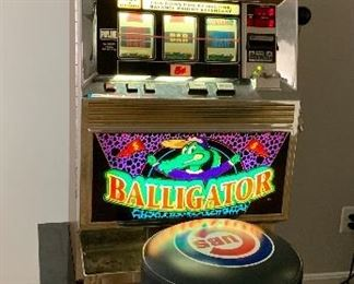 """Bally """"Balligator"""" Slot Machine.  Very good condition.  Professionally maintained.   32"""" x 18"""" x 18"""".  Approx 200 lbs."""