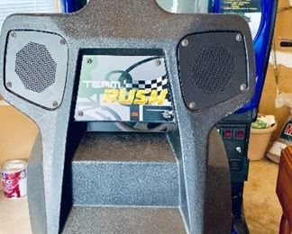 """ATARI Rush 2049.  Full size 'sit down' arcade machine. Generally excellent condition (monitor needs to be replaced).  78"""" x 33.5"""" x 64"""".  Approx 500 lbs."""