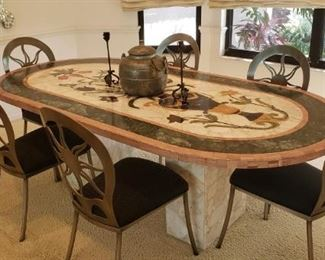 Gorgeous wood dining room table - details are spectacular.