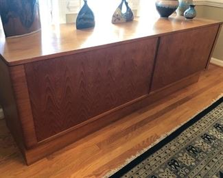 Mid Century Modern Credenza with Disappearing Tambour Doors