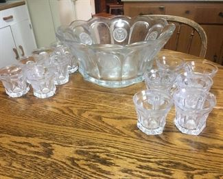 Coin Glass Punch Bowl with glasses