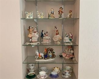 Figurines, cup and saucers, plates, Dresden, Hummel