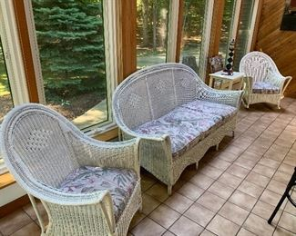 Antique White Wicker Rocker, Sofa and Chair is very good condition.  Cushions have actual springs underneath.  Quality made