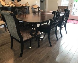 "Gorgeous vintage ""Councill"" dining table - upcycled with leather top - 7.5' x 4' w/extra 18"" leaf and six chairs"