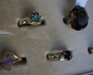14K Gold and precious and semi precious stones, plus vtg SKAL