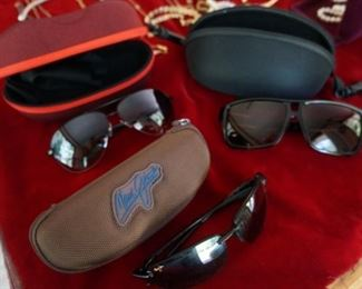 Maui Jim, Ray Ban, and other sun glasses
