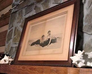 Unusual, framed. vintage, seaside print