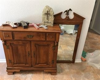 Beautiful vintage chest with matching mirror