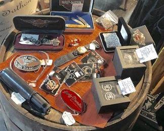 H-D Belt Buckles, Knives, Earrings, Bracelet and Pins