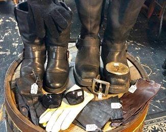 Vintage Leather Gloves, H-D Men's & Ladies Leather Riding Boots