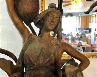 Bronze Art Nouveau-style large table lamp (heavy).