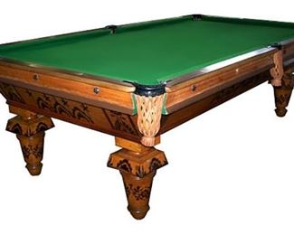 1880s Brunswick pool table in fairly good condition. This is NOT our table, but is very similar. Please call with questions/offers.