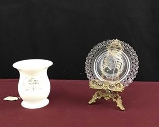 Antique Pass Cup and Collectible Plate of Admiral Dewey in a Brass Stand