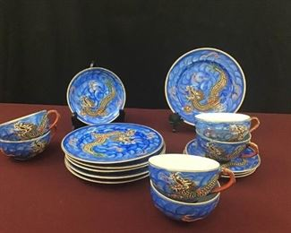 Vintage Raised Blue Dragonware Moriage Tea Cups, Saucers, and Plates