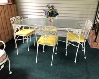 Wrought Iron Patio Table and Chairs Set