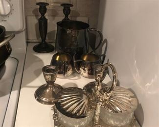 Silverplate items and Sterling Silver Weighted Candlesticks