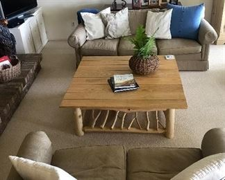 Sofa and matching loveseat.  Rustic Coffee Table