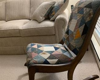Quilt covered rocking chair