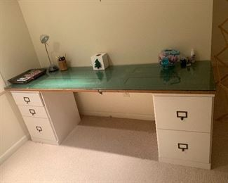 Desk made with old door and glass top.  Great idea!