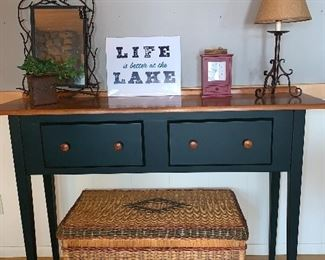 True!  Nice side green and cherry side table by