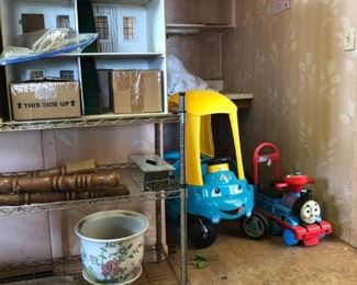 toy riding car; toy riding train