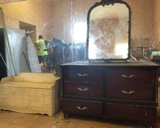 ironing board; cedar chest; mirror; chest w/mirror (mirror not pictured)