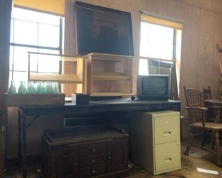 antique picture; rolling medial shelves (2); tv; wood toy chest; file cabinet; coke bottles in wooden case