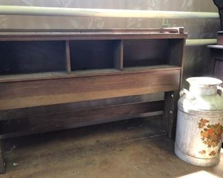 headboard and footboard; antique mile can