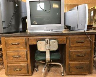 tv; office desk; antique desk chair