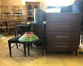 2 chairs; tree stand; 4 drawer chest