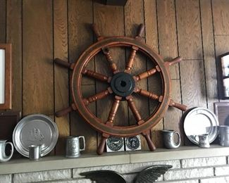 Pewter and antique ships wheel from Maine in the 1960's