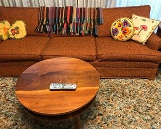 Vintage sofa, and handcrafted cherry coffee table