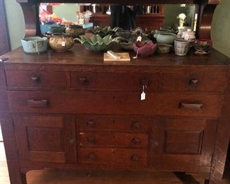 Mission Oak Buffet w/Mirror