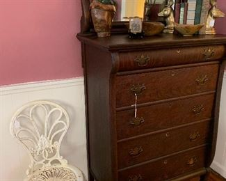 Robinson Iron three legged chair (Heavy)!  Empire chest of drawers w original beveled mirror & wood castors.