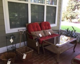more outdoor wicker, planters and misc.