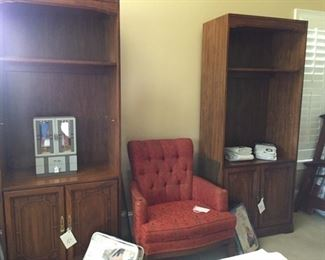 bookshelves, vintage chair, new curtains, jewelry box