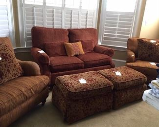 nice club chairs, ottomans, loveseat