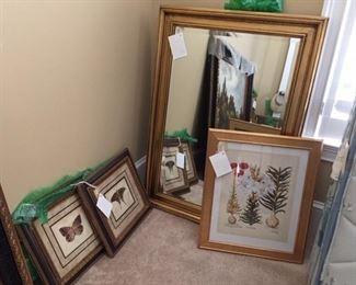 mirror, botanical prints
