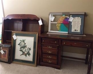Louise Turner print, desk/hutch, painted window