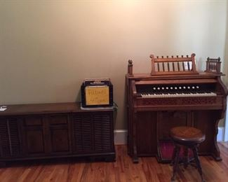 antique pump organ with stool, vintage stereo, more lps