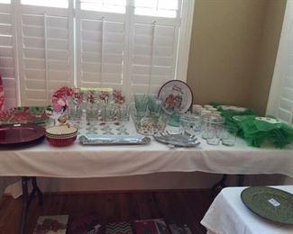 handpainted Christmas glasses, glassware