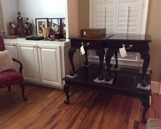 Queen Anne, carved nice end tables and coffee table, chicken decor, misc.