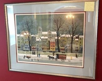 Framed signed/numbered lithograph by Michel Delacroix