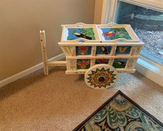 Hand Painted Decorative Cart