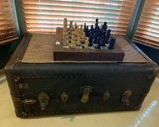 Vintage Oriental Hand Carved Chess Set and 1924 Steamer Trunk