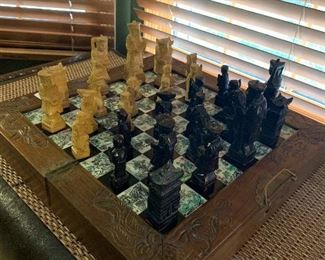 Vintage Oriental Hand Carved Chess Set