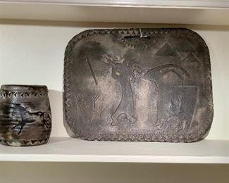 Slate and pottery petroglyphs