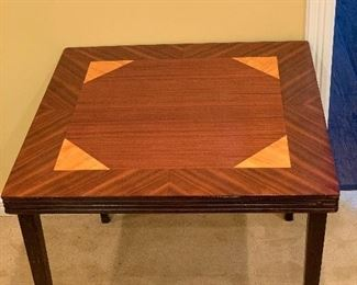Antique Castlewood Deluxe Card Table With Inlay